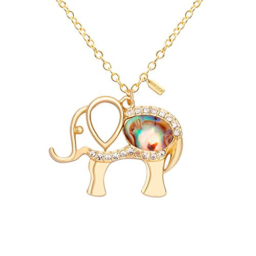 MANZHEN Gold Tone Crystal Good Luck Elephant Pendant Necklace Abalone Shell Pendant Lucky Animal Necklace ()