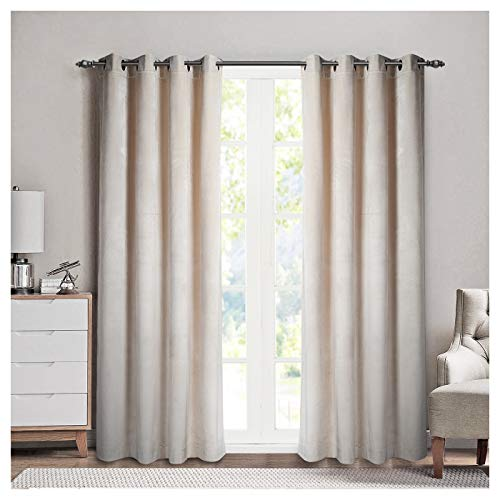 SINGINGLORY Luxury Velvet Curtains 2 Panels Set, Blackout Thermal Insulated Velour Grommet Curtain Drapes with 2 Tiebacks for Salon and Living Room (52 inch x 84 inch, Ivory ()