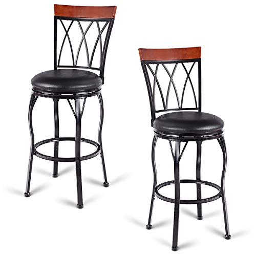 COSTWAY Vintage Bar Stools Swivel Comfortable Leather Padded Seat Bistro Dining Kitchen Pub Metal Seat Height Barstools Chairs Set of 2 with 2 Set of Feet Caps