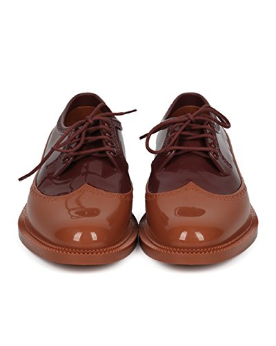 Melissa Women Lace Up Spectator - Jelly Loafer - Comoda E Comoda Scarpa Casual Da Smoking - Classica Brogue Di Bordeaux / Brown Jelly