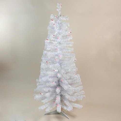 NORTHLIGHT B03897 Wrapped Tree with 50 Ul Pink Lights, 4' (Artificial Christmas Pencil Trees)