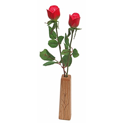 5th Wedding Anniversary gift 2-stem wood roses with vase (Fifth Anniversary Gift Traditional)