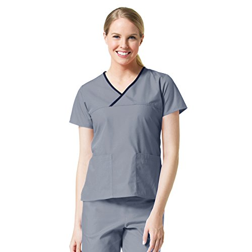 Core Mock Neck - Core by Maevn Women's Y-Neck Mock Wrap Solid Scrub Top Large Pewter/Black