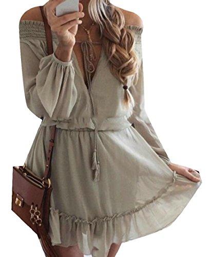 Mini Long Jaycargogo Ruffled Shoulder Sleeved Dresses 1 Off Chiffon s Women The wq7Yrw8