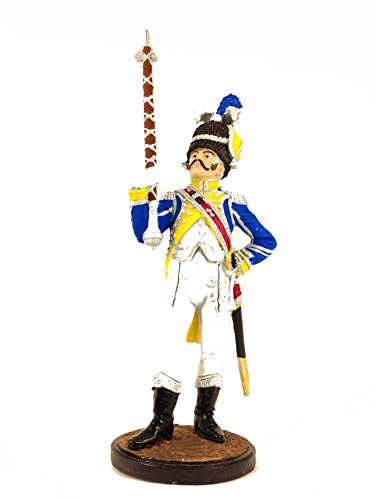 Military-historical miniatures Drum-Major of Dutch Grenadiers 1810-11 Hand Painted Tin Metal 54mm Action Figures Toy Soldiers Size 1/32 Scale for Home Décor Accents Collectible Figurines ITEM #NAP02
