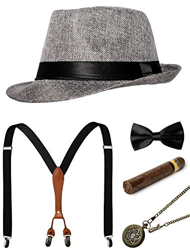 1920s Mens Accessories Gatsby Gangster Costume Accessories Set Manhattan Fedora Hat Suspenders Bow Tie Pocket Watch (Z-Grey Set) ()
