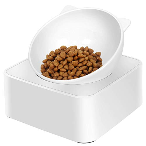 UPSKY Cat Dog Bowl Raised Cat Food Water Bowl with Detachable Elevated Stand Pet Feeder Bowl No-Spill, 0-30°Adjustable Tilted Pet Bowl Stress-Free Suit for Cat Dog ... (White)