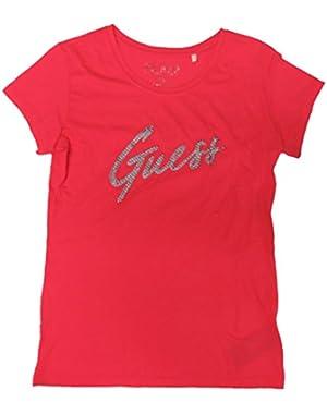 Guess Women's Stud Logo Short Sleeve Shirt Summer Love Pink, Medium