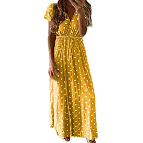 Women's Casual Long Maxi Dress, Classic Dot Print Dresses, Sexy V Neck High Waist Wrap Dresses Party Beach Yellow