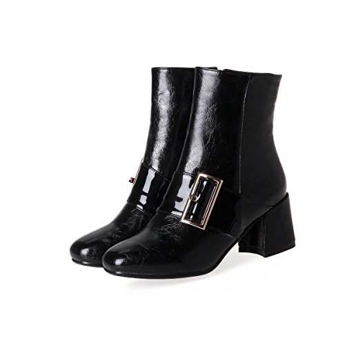 De Artificial Oscuro Del Marrón Cabeza Invierno Heel Cinturón Trabajo Boots Mujeres Black Chunky Hebilla Pu Fiesta Martin Redonda Mid Tobillo Otoño qzOgUP