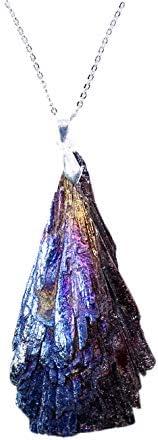 CUHAWUDBA Azul Titanio Plateado Turmalina Negro Colgante de Plumas de Pavo Real Azul Piedra en Bruto Muestras Minerales ArtesaníAs Decorativas (Forma Aleatoria)