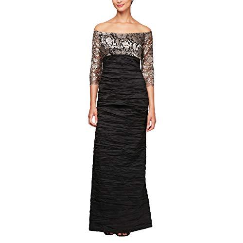 Alex Evenings Women's Long Off The Shoulder Empire Waist Dress, Black/Taupe 12