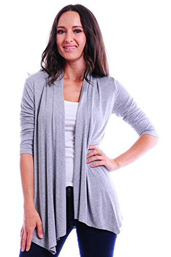 Simply Ravishing SR Women's Basic 3/4 Sleeve Open Cardigan (Size: Small-5X), 3X, Heather Grey