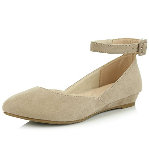 Toe Strap Ankle Adjustable Flat Shoes Pointed Suede DailyShoes Buckle Low Women's Taupe Fashion Wedge qxw4Z