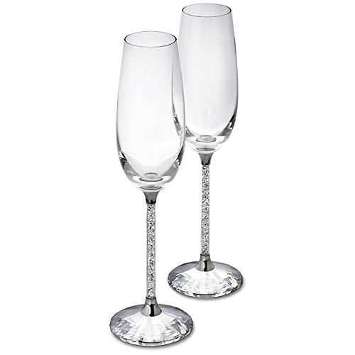 2PCS Personalized Crystal Wedding Champagne Flutes Toasting Wine Glass (Personalized Wedding Toasting Goblets)
