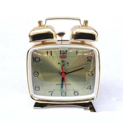 guangya Boutique Metal Movement Alarm Clock Nostalgic Horseshoe Alarm Clock Square Gold