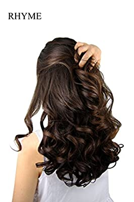 """Rhyme 23"""" Curly Layered One Piece 5 Clips Clip in/on Hair Extensions Hairpieces for Girls/Woman"""