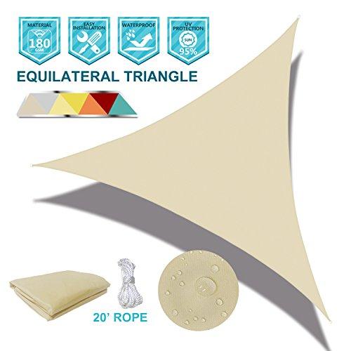 Coarbor Waterproof UV Block 6 x6 x6 Sun Shade Sail Canopy Triangle 180 GSM Polyester for Pergola Carport Awning Patio Yard- Customized Beige