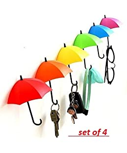 Ystore Plastic Umbrella Style Fancy Wall Hanger or Hook (Multicolour) -3 Piece Per Set