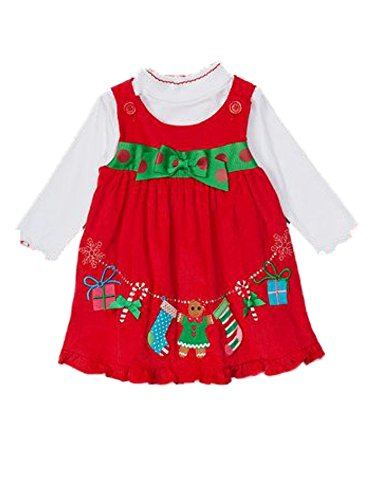 Sophie Rose Infant Girls 2 PC Candycane Corduroy Jumper Holiday Dress Shirt 12m Red