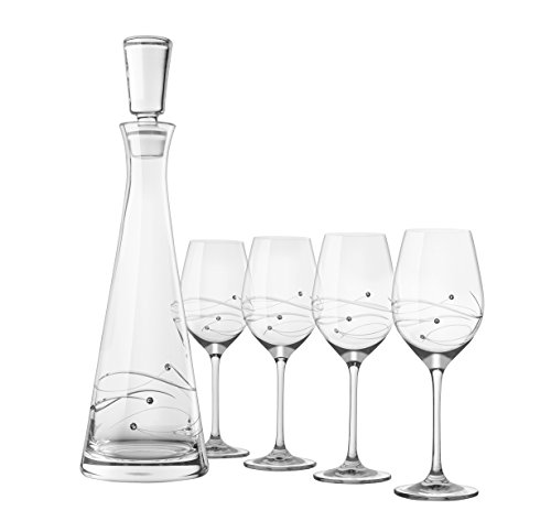 Barski - Set of 5 - Handmade Glass - Sparkle - 33 oz. Tall Wine Decanter with 4 White Wine 12.5 oz. Glasses - Decorated with Real Swarovski Diamonds - Gift Boxed - Made in Europe by BARSKI