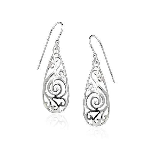 Big Apple Hoops - Genuine 925 Sterling Silver Delicate Filigree Teardrop Dangle Hook Earrings I 3 High Polish Mirror Finishes (Silver, Yellow Gold, Rose Gold)