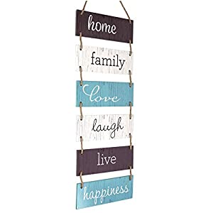 Excello Global Products Large Hanging Wall Sign: Rustic Wooden Decor (Home, Family, Love, Laugh, Live, Happiness…