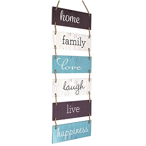 Excello Global Products Large Hanging Wall Sign: Rustic Wooden Decor (Home, Family, Love, Laugh, Live, Happiness… 1