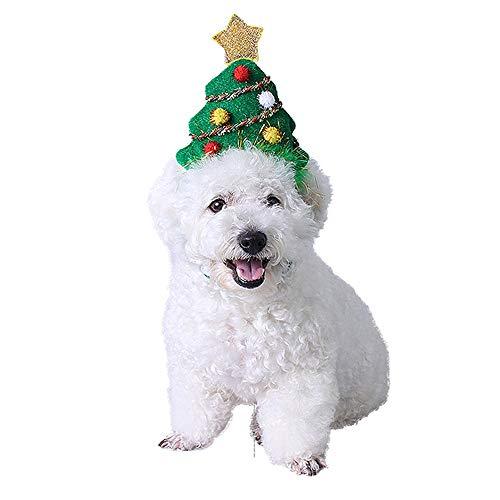 Bravo Sport Pet Puppy Dog Cat Costume Holiday Christmas Head Hoop, Adjustable Elastic Bungee Christmas Tree Hat, Pet Accessory Headband Holiday Photo Props (S)