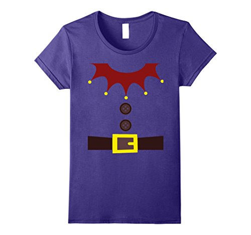 Womens Dwarf, Gnome, Elf, Santa Helper Costume T-Shirt - Funny Gift Large Purple Dwarf Santa