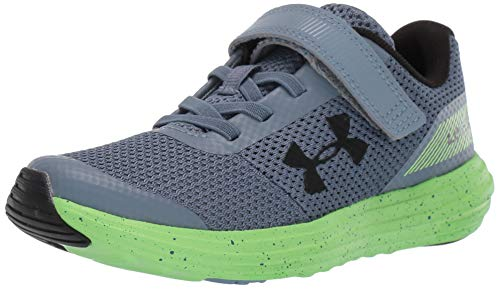 Under Armour Boys' Pre School Surge RN Alternate Closure Sneaker, Ash Gray (403)/Lime Light, 2