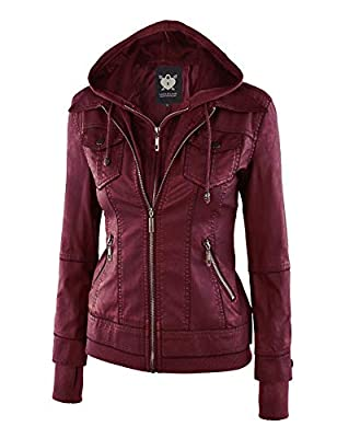 Lock and Love Women's Faux Leather Moto Biker Jacket with Rmovable Hoodie