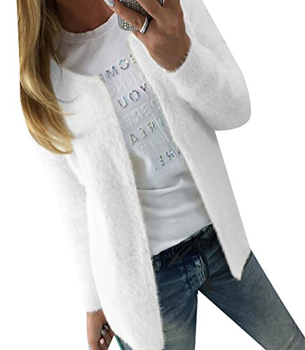 Rrive Womens Basic Solid Long Sleeve Open Front Casual Short Cardigan Jacket