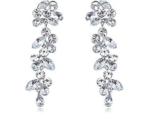 [Alilang Silvery Tone Crystal Rhinestone Drop Leaf Earrings Wedding Special Occasion Bridal] (Elegant Bride Costumes)