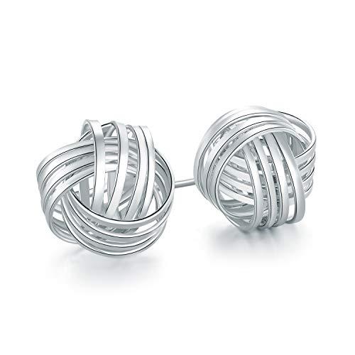 Barzel 18K Gold Plated Gold 4 Row Love Knot Stud Earrings (Silver) ()