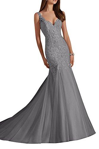 Charmant Lang Damen Grau Schleppe Spitze Abendkleider Figurbetont Standsamt mit Hochzeitskleider Promkleider rAPfrxqw