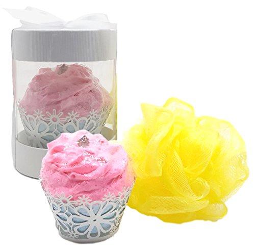 Happy Birthday Bath Bomb Cupcake with Loofah Bath Pouf In Cupcake Gift Box (Tropicana Cake)