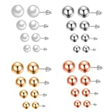 316L Stainless Steel Post Pearl Round Ball Studs Earrings 16 Pair Set Assorted Colors Sizes (4 colors 4 sizes)