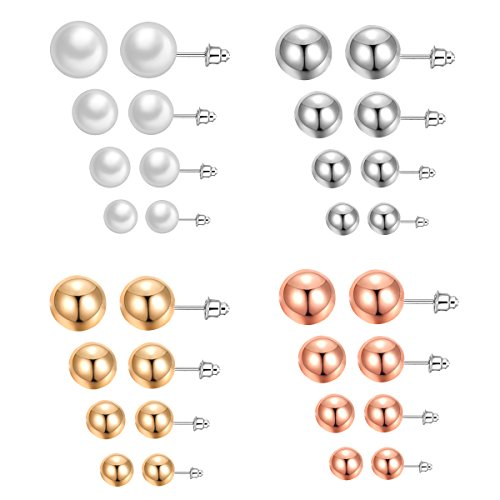 316L Stainless Steel Post Pearl Round Ball Studs Earrings 16 Pair Set Assorted Colors Sizes (4 colors 4 sizes) (Metal Bead Earrings)