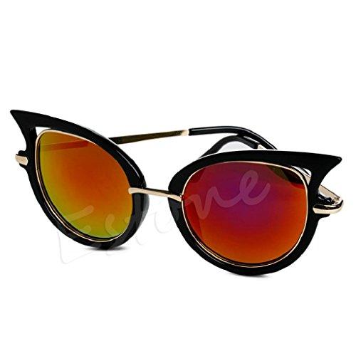 Hukai Womens Retro Mirror Sunglasses Golden Leg Metal Frame Cat Eye Shades Eyeglasses - For Frame Eyeglasses Teenager