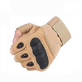 Navkar Craft® Cycling, Riding, Mountain Bike, Half Finger Anti-Slip Gloves for Men & Women (Beige)