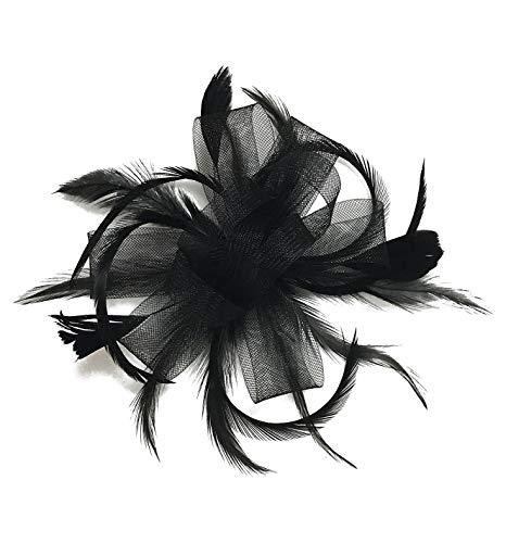 Z&X Women Feather Fascinator Wedding Tea Party Hair Clip Brooch Bridal Headpiece Black
