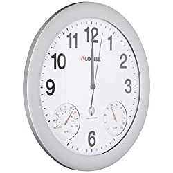 Lorell Analog Temperature/Humidity Wall Clock, 12-Inch, Silver