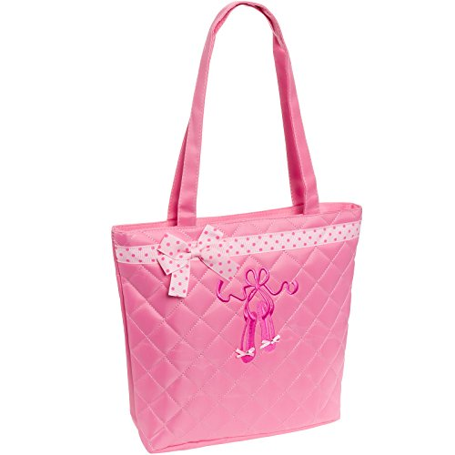 Lil Princess Quilted Dance Ballet Slippers Tote Bag, Light Pink ()