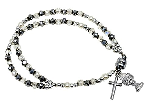 (CB First Holy Communion Double Strand Rosary Pearl Beads Bracelet for Girls with Chalice and Cross Crucifix Dangle Charms, for a Girls 1st Communion)