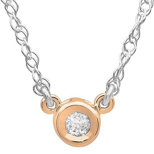 0.05 Carat (ctw) 10K Rose Gold Round Diamond Ladies Solitaire Pendant 1/20 CT 0.05 Ct Round Diamond