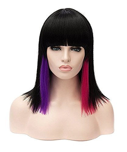 Morticia From The Addams Family Costumes (Rabbitgoo Short Mid-Length Shoulder Wig Sexy Multi-Colored Highlighted Cosplay Harajuku Style Lolita Bob Wig with Flat Neat Bangs(Black+Purple+Red))