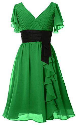 Formal MACloth V Green Bride Cocktail Elegant Mother Short of Gown Neck Sleeve Dress rOrqvwg1