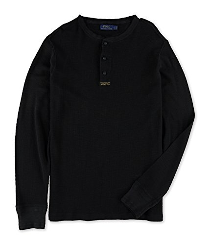 Tag Jacquard Polo (Polo Ralph Lauren Mens Cotton Jacquard Waffle Knit Henley - L - Polo Black)