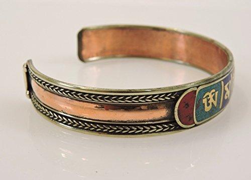 Handmade Tibetan Three Metal Healing Mantra Yoga Bracelet (3 color Red) by Hands Of Tibet (Image #2)